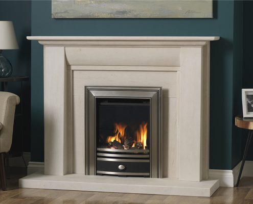 Focus Fireplaces - PARAGON CORE SQUARE CAST FASCIA PEWTER IN STOKESAY