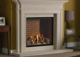 Infinity 800HD UBL Red Brick Liners Walnut logs Stapleton Surround - Focus Fireplaces
