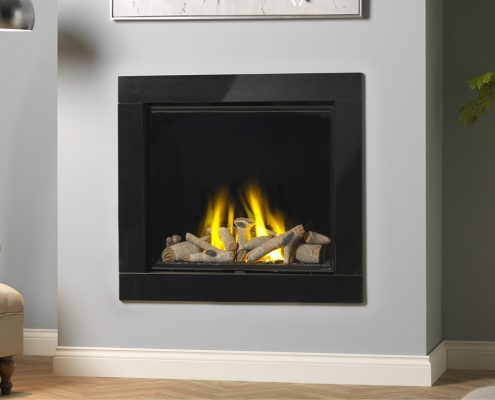 Infinity 800HD Silver Birch Black Glass Fascia Black Glass Liners - Focus Fireplaces