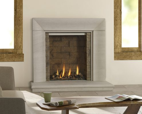 Infinity 880BF with Stone Effect Liners in Wave Limestone Suite- Focus Fireplaces