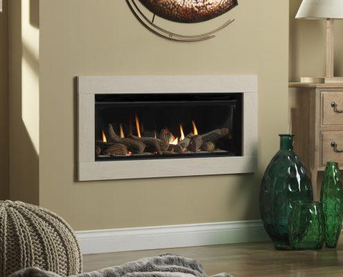 Infinity 890HD SIlver Birch Limestone Slips Black Glass Liners - Focus Fireplaces