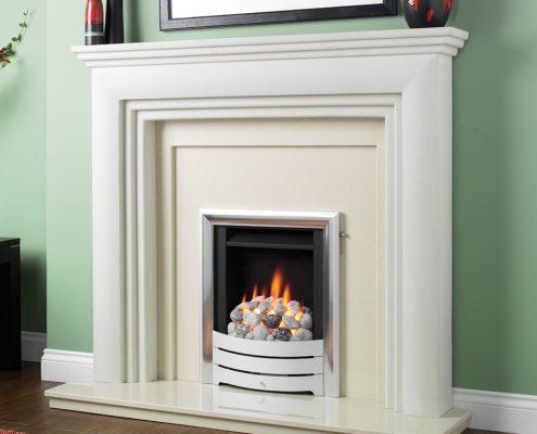 Spirit slimline: Satin Profile Trim, Modular Pebble - Focus Fireplaces