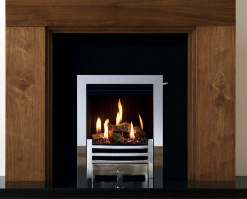 Gazco Logic™ HE Wave Inset gas fire with Polished Stainless Steel Profil front - Focus Fireplaces York