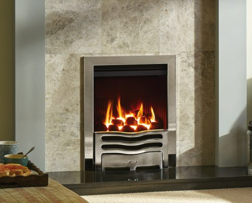 Gazco Logic™ HE Wave Inset gas fire in Polished Chrome effect - Focus Fireplaces York