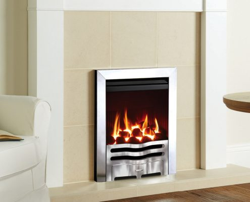 Gazco Logic™ HE Wave Inset Gas Fire with polished Chrome effect and Box Profil frame - Focus Fireplaces York