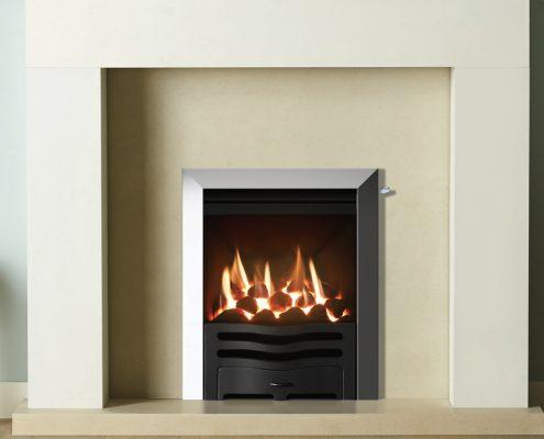 Gazco Logic™ HE Wave Inset gas fire in Matt Black - Focus Fireplaces York