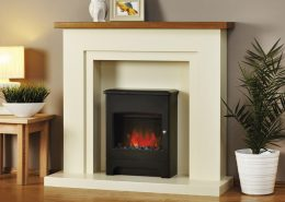 Focus electric suites - Monaco in Vanilla Finish with Solid Oak Mantel with Clive Stove in Black Finish