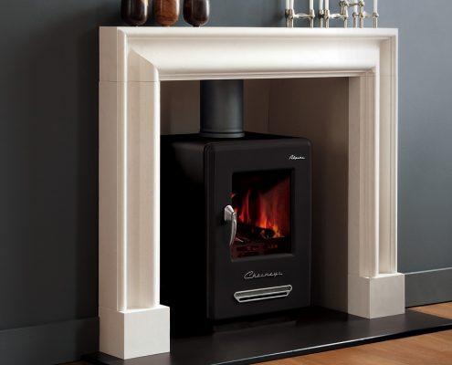 Chesneys Alpine 6 Wood-burning Stove with Clandon fireplace