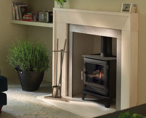 Chesneys Salisbury Gas Stove with Metro Limestone fireplace