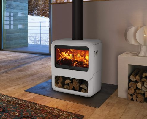 Dovre Rock 500 Stove with wood box base in Pure White enamel