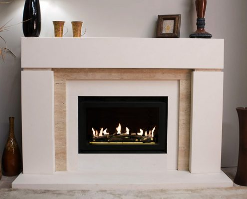 Findley House Zaffonic - Semi Rijou Limestone fireplace