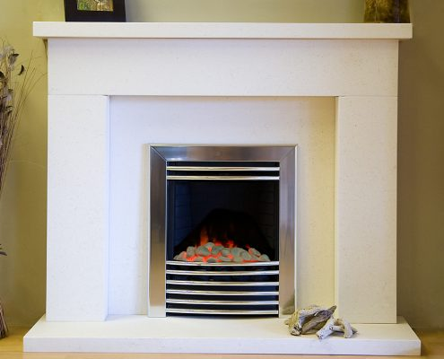 Findley House Shelby - Ivory White Limestone fireplace