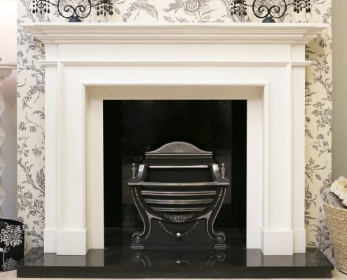 Findley House Rembrandt - Ivory White Limestone fireplace