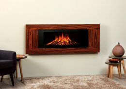 Focus Nadia wall mounted electric fire: Rosewood finish