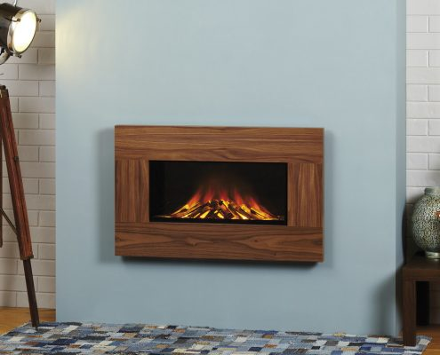 Focus Natalie wall mounted electric fire: Walnut Finish