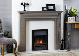 Focus Charlotte Grey Wash on Oak wooden fireplace