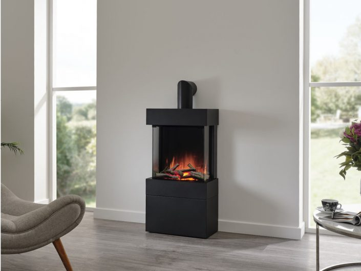 Flamerite Luca 450 free-standing with log store modular suite