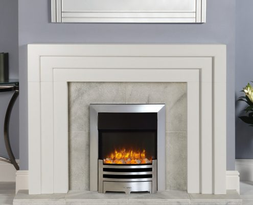 Gazco Logic2 Electric Arts with Highlight Polished fret and Brushed Steel effect frame