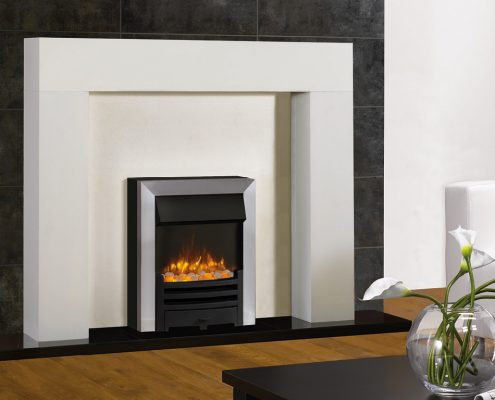 Gazco Logic2 Electric Arts with Matt Black Fret and Brushed Steel effect Frame and spacer frame. Shown with Stovax Malmo Mantel