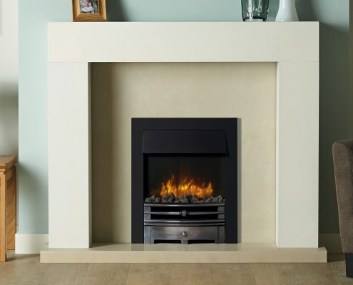 Logic2 Electric Chartwell with Highlight Polished front, Matt Black frame and Grey Pebble fuel bed. Shown with Stovax Malmo wooden mantel in white