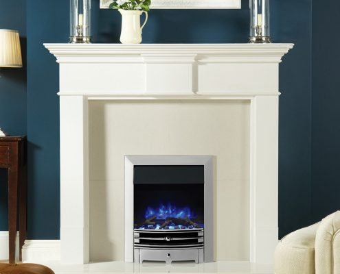 Logic2 Electric Chartwell with Polished effect front, Polished Steel effect frame, and Log-effect fuel bed on blue flame setting