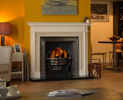 The Penman Collection - Aversa Rosa Limestone with natural Marble inlay fireplace