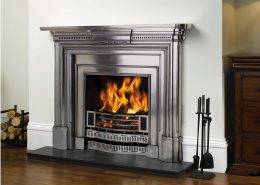 Stovax Georgian Fully Polished Cast Iron Mantel with Fully Polished Knightsbridge Insert