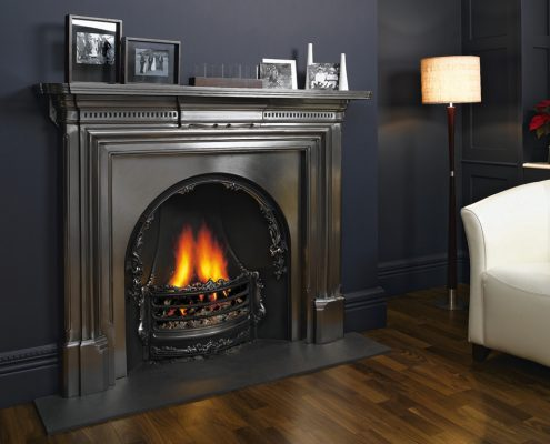 Stovax Georgian Cast Iron Mantel in Matt Black with Fully Polished Adelaide Insert