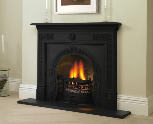 Stovax Victorian Cast Iron Mantel in Matt Black with Horseshoe Insert with ashpan cover
