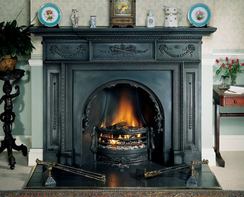 Stovax William IV Cast Iron Mantel in Matt Black with Adelaide Insert and ashpan cover