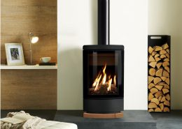 Gazco Loft Gas Stove with Woodgrain sandstone Plinth