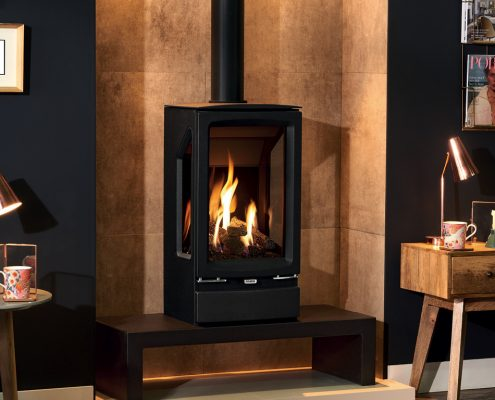 Gazco Vogue Gas Midi T 3 sided Gas Stove on bench