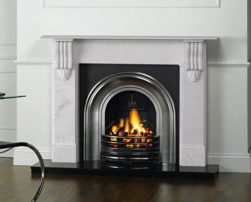 Stovax Victorian Corbel Stone Mantel in Antique White Marble with Stovax Classical Arched Insert