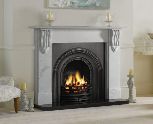 Stovax Victorian Corbel Stone Mantel in Antique White Marble with Stovax Decorative Arched Insert