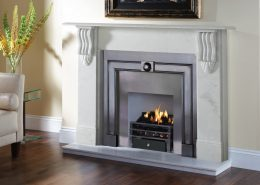 Stovax Victorian Corbel Stone Mantel in Antique White Marble with Burlington Polished cast front