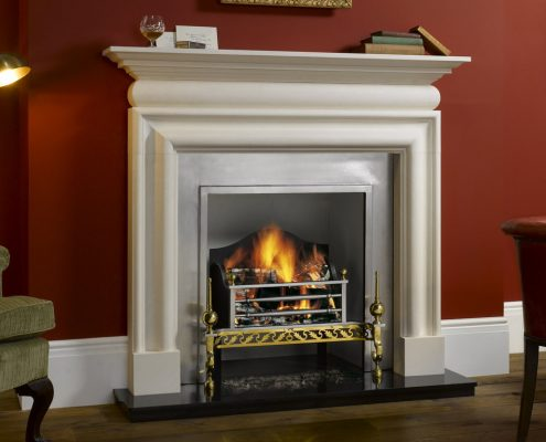 Stovax Cavendish Bolection Stone Mantel in Natural Limestone with Chelsea Polished cast front and Montrose fire basket