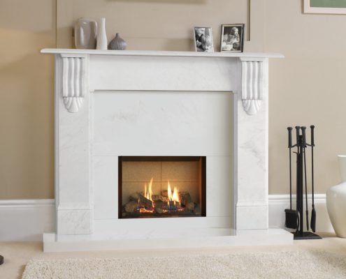 Stovax Victorian Corbel Stone Mantel in Natural Limestone with Gazco Riva2 500 Edget fire