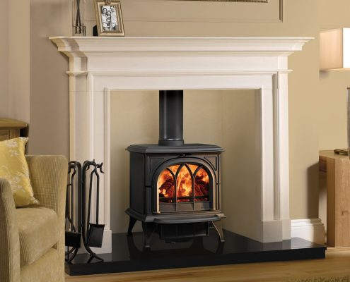 Stovax Sandringham Stone Mantel with Stovax Huntingdon 30 wood and multi-fuel stove