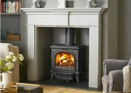 Stovax Pembroke Mantel in Grey with Huntingdon 30 stove