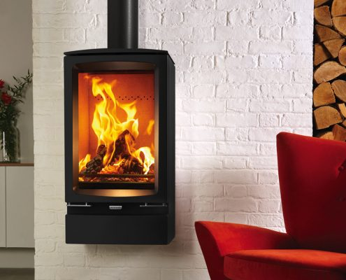 Stovax Vogue Midi T woodburning Stove with optional wall mounting bracket