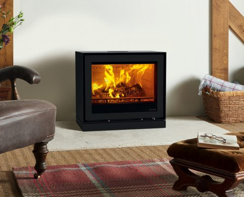 Stovax Freestanding Elise 680 steel with Plinth Woodburning Stove(Rear Flue)