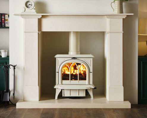 Stovax Ivory multi-fuel Huntington 30 Stove with tracery door