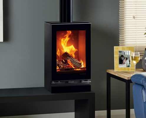 Stovax Vision Small T woodburning Stove with optional Glass Top Plate and Glass Plinth
