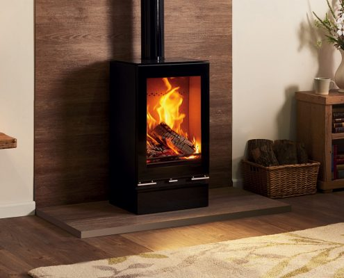 Stovax Vison Midi T Stove with Glass Top Plate & Plinth