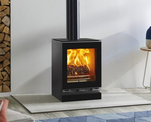 Stovax Vision small woodburning Stove with optional glass top plate, plinth