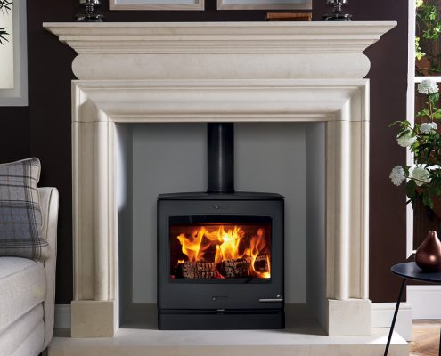 Stovax Yeoman CL5 Wide Stove Cavendish Bolection Limestone Mantel