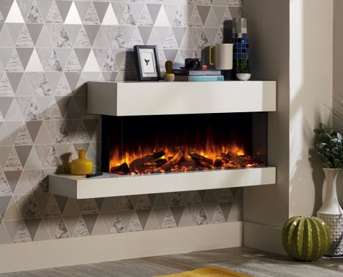 eReflex 110W Outset Electric Fire - Trento Right Offset with Log & Pebble fuel effects