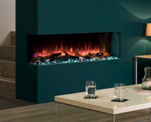 eReflex 110W Outset Electric Fire with Log & Pebbles fuel-effects