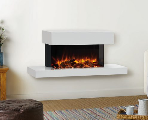 eReflex 70W Outset Trento Centred Electric Fire with Log & Pebble fuel effects