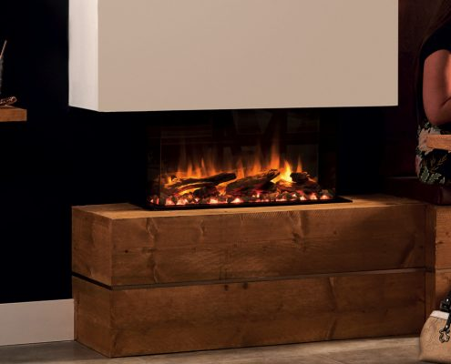 eReflex 70W Outset Electric Fire with Log & Pebble fuel effects and optional decorative trim